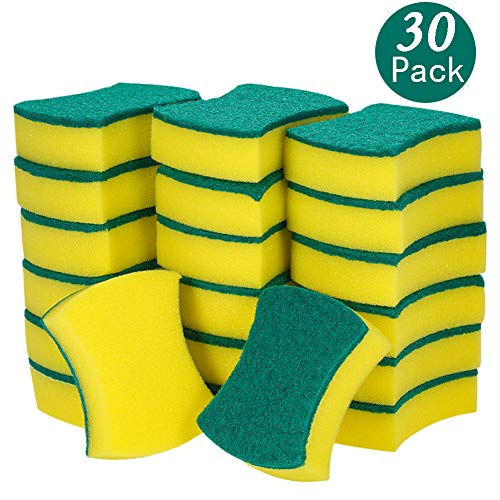 30 Pack Heavy Duty Scrub Sponge, Non-Scratch Super Absorbent Cleaning Kitchen Sponges, Sponge Scourers Multi-Use for Kitchen, Bathroom, Furniture, Dishes, Car & Steel Wash - Size 4