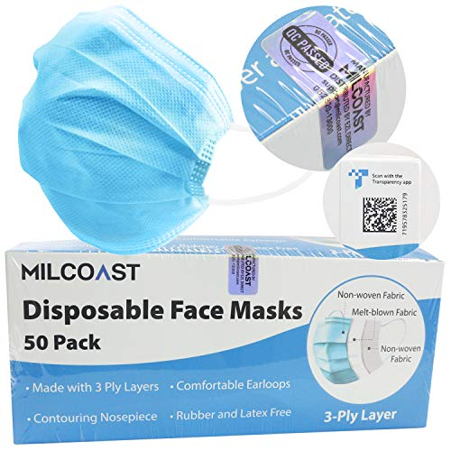 Milcoast 3-Ply Layer Protective Disposable Soft Earloop Face Masks - 50 Pack