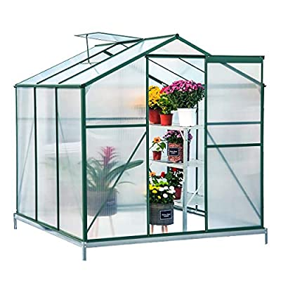 Erommy Walk-in Greenhouse Large Gardening Plant Hot House with Adjustable Roof Vent and Rain Gutters,UV Protection Planting House,6'(L) x 6'(W) x 6.6'(H)