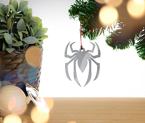 Spiderman Christmas Decoration. Silver Mirror Acrylic Christmas decoration, christmas bauble with red cord.