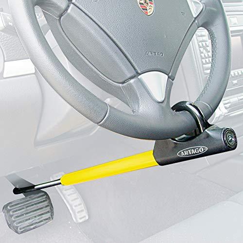 Artago 871A/B Antifurto Auto Blocca Volante Pedale Bloccaggio Basculante Regolazione Filettatura più Adattabile, Nero/Giallo