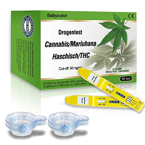THC Urintest Kits , THC Urintest mit Cut-off: 50 ng/ml , Drogentest Cannabis Marijuana Haschisch - 15 Stk Marihuana THC Test-Kit + 15 Urinbecher