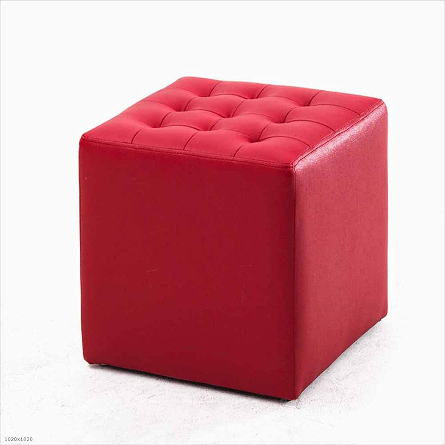Sofa Stool First Layer Leather Small Round Pier Stool Living Room Stool Change shoes Stool Footstool, 8