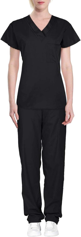 Green Town Women's Solid Medical Scrub Set VNeck Top Cargo Pants