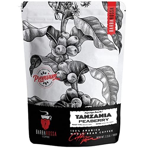 Barbarossa Tanzania Peaberry Mount Kilimanjaro Coffee - Premium Quality Handcrafted - Aroma of Buttery Black Tea Peach Medium Dark Natural Processed - Winey Acidity Fresh Roasted Beans | 2019 Neighborhood Favorite Award…