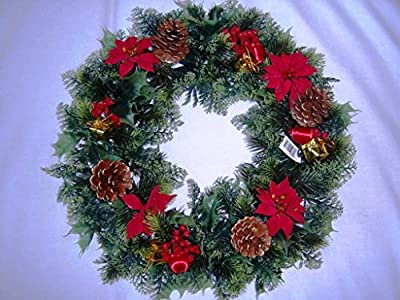 "18"" Artificial Christmas Wreath Red/Poinsettias/Holly Cones,parcels Ideal for Outdoors/Indoors"