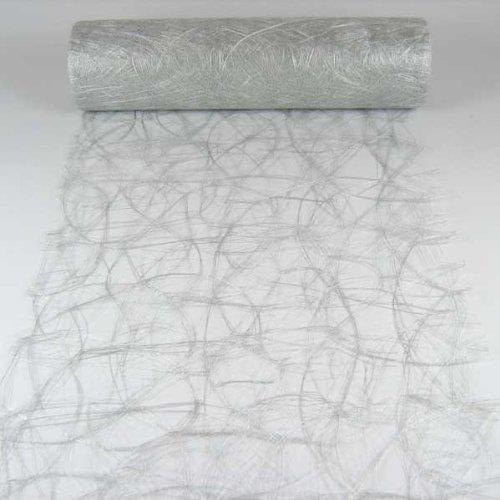 N/A 1m Sizoweb® Original Tischband Tischläufer Tischdeko Faserseide 30cm, Farbe:Silber