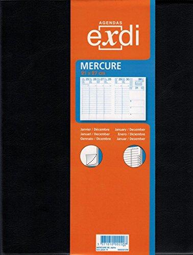 Exdi - 303001Q - Agenda Semainier MERCURE ML - Janvier à Décembre 2022 - Noir - 21 x 27 cm - Une semaine sur deux
