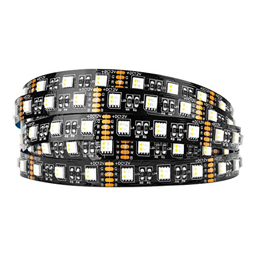 BTF-LIGHTING 5050 RGBW RGB+Warm White (2700K-3000K) 4 Colors in 1 LED 5m 16.4ft 60LEDs/m Multi-Colored LED Tape Lights IP30 Non-Waterproof Black PCB DC12V for Bedroom Kitchen Home Decoration