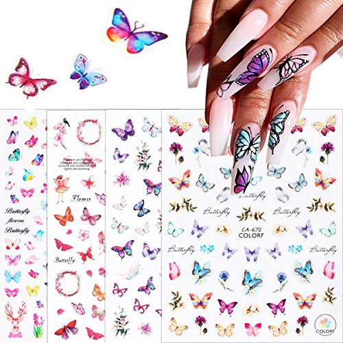 BFY Butterfly Nail Art Stickers Butterfly Nail Art Foil Decals Colorful Printing Butterflies for Nails 3D Nail Art Self-Adhesive 4 PCS Romantic Rose Nail Butterflies Sticker for Acrylic Nails