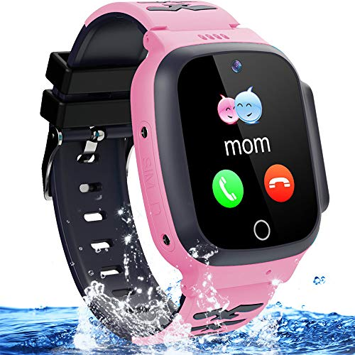 Kids Waterproof Smart Watch Phone Girls Boys Smartwatch with LBS Tracker Two Way Call SOS Micro Chat Camera Anti-Lost Math Game Touch Screen Games Alarm Clock Gizmo Watch Birthday Gifts (Pink)