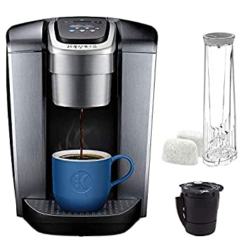Keurig C K-Elite Maker Single Serve K-Cup Pod Brewer with Iced Coffee Capability Extra Included 75oz Brushed Silver Plus Filter Bundle
