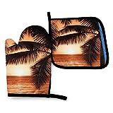 Dusk Tropical Beach Palm Oven Mitts y Pot Holder Kitchen Set Guantes de cocina para hornear BBQ resistentes al calor-GJW