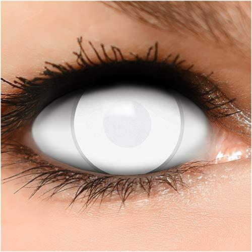 Farbige Kontaktlinsen Dead Zombie in komplett weiß 60% Sehvermögen + Behälter - Top Linsenfinder Markenqualität, 1Paar (2 Stück)