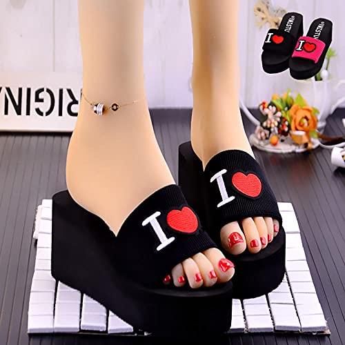 Zapatillas Deportivas De Mujer Blancas,Zapatillas De Mujer De Moda De Verano, Nuevas Zapatillas De Fondo Gruesas, Pendiente De Las Mujeres con La CancióN Alta con Zapatos De Playa-EU 35 (225mm / 8.85