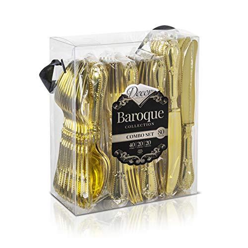 Decorline - Stoviglie Monouso per Feste in Plastica Rigida, Dura - Finitura Oro - Stile Barocco - Set Posate USA E Getta - 80 Pezzi