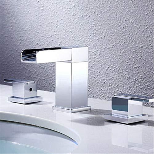 HNBMC Grifo de Lavabo, LED frío y Caliente, Grifo de Lavabo de baño con Doble asa y Tres Agujeros cromados