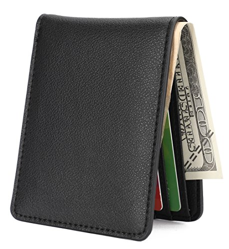Mens Slim Front Pocket Wallet ID Window Card Case with RFID Blocking - Natural Grain Black