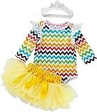Aeromdale Conjunto de ropa de Pascua para bebé con volantes de manga larga para niña, vestido tutú con banda para el pelo, 66 cm, 3 unidades