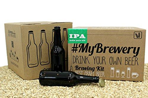 Pack IPA bierbrauset für zuhause | 16 Bierflasche 33cl und 100 Kronenkorken | Anleitung in Deutsch