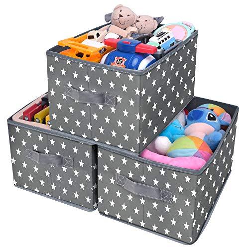 GRANNY SAYS Kid's Fabric Storage Bin Toy Storage Basket Nursery Storage Closet Organizer Bins Cute Star Pattern Dark Gray 3-Pack