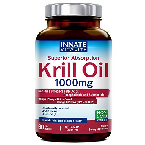 Krill Oil with Omega3s Phospholipids and Astaxanthin 1000mg per Serving, 60 Softgels, Superior Absorption, Non-GMO, Gluten Dairy & Soy Free, Supports Joint, Brain and Heart Health Made in USA
