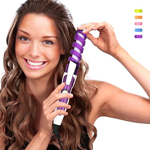 SexyBeauty Professional Portable Hair Salon Spiral Curl Ceramic Curling Iron Hair Curler Waver Maker Curling Wand (Purple)