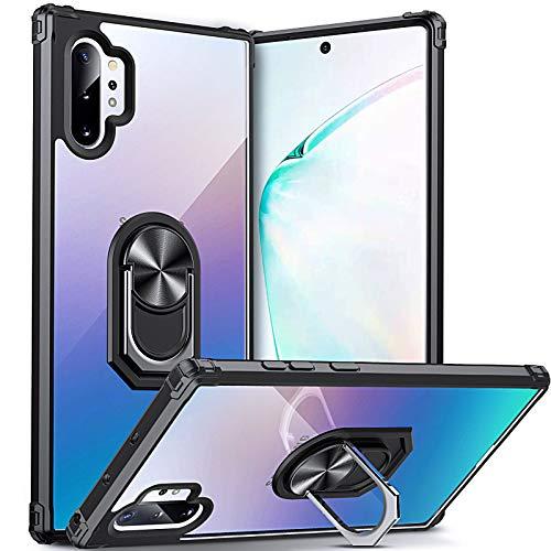 DOSNTO für Samsung Galaxy Note 10 Plus Hülle Handyhülle, Klare Stoßfeste Fallschutz Silikon Schutzhülle Transparente TPU, mit 360 Drehbarem Magnetischem Ring Ständer, Schwarz