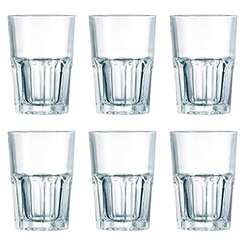 """Luminarc - Set de 6 vasos""""new america"""" con capacidad de 40 cl, de 8,5 cm de diámetro y 12 cm de alto. Pack de 6 vasos especiales para refresco, con base gruesa facetada. Vasos para hogar o hostelería"""