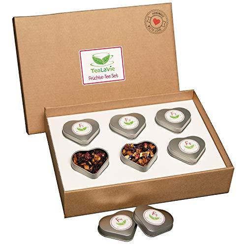 TEALAVIE - 6er Tee-Geschenke-Set - Früchte Tee lose | edle Herz-Teedose für Teeliebhaber | ideal...