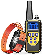 犬の訓練の首輪、100%IPX7防水充電式875ヤードLEDライト/ビープ/振動/ショックモードのリモート犬のショック首輪、小中大型犬用の犬の樹皮首輪