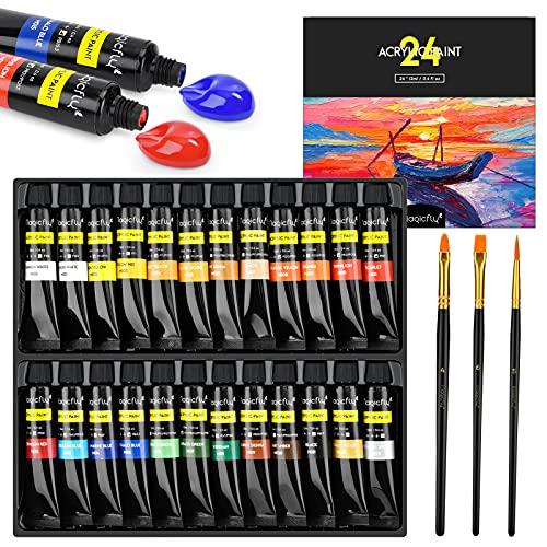 Magicfly Pintura Acrílica 24 Tubos 12 ml, Kit de Pintura Acrilica para Manualidades, Papel de Lienzo, Vidrio, Madera, Modelar, para Artistas, Niños
