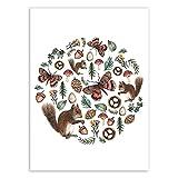 HNZKly Ardilla Mariposa Poster Vintage PiñAs Seta Pared Arte Impresiones Plantas Animales Lienzo Pinturas NóRdico Selva Cuadro GuarderíA Bebé NiñOs Sala Decoracion 60x80cm Sin Marco