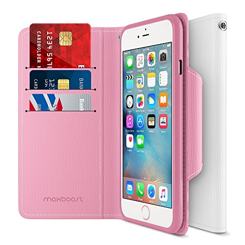 Maxboost iPhone 6S 6 Wallet Case, iPhone Wallet Case for iPhone 6S / 6 Protective PU Leather Card Case with Credit Card Slots + Side Pocket Flip Magnetic Stand Feature - Hot Pink/White