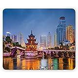 City Mouse Pad,Skyline Von Guiyang China Im Jiaxiu-Pavillon Auf Dem Stadtbild Des Nanjing-Flusses In Der Abenddämmerung,Rechteckiges Rutschfestes Gummi-Mauspad,Standardgröße,Mehrfarbig