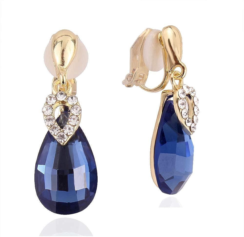 HAPPYAN High-grade Rhinestone Crystal Clip on Earrings No Pierced for Women Party Wedding Anti-Allergy Ear Clip