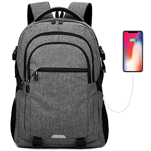 15.6 inch Laptop Backpack Men, Travel Water Resistant Backpack with USB Charging Port Multiple Pockets School Backpack, Durable Lightweight Computer Backpack for Men and Women, Black (Grey)