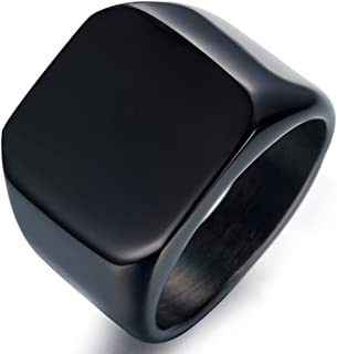 Stainless Steel Signet Ring for Men Polished Pinky Ring Size 4-15