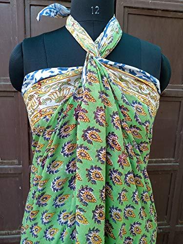 Indianhandicraft Pareo Indio Hecho a Mano Estampado de Bloques de Mano Pareo de algodón Pareo Largo Dupatta para Mujer, tamaño 44 x 72 Pulgadas, algodón Indio Sarong 01