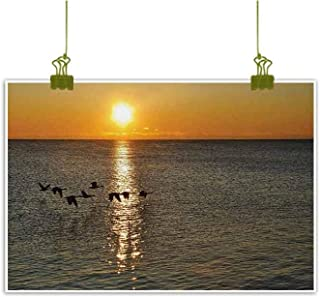 Mannwarehouse Birds Modern Oil Paintings Silhouettes of Canadian Geese Flying Over a Lake at Sunrise Romantic Scenery Canvas Wall Art 35