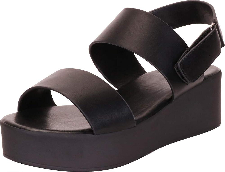 Cambridge Select Woherrar Two -Strap -Strap -Strap Slingback Chunky Flatbform Sandal  fabriks direkt och snabb leverans