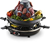 Gourmia GEG1400 Electric Raclette - Table-Top Party Grill - 6 person - Vertical Grilling Sombrero -...