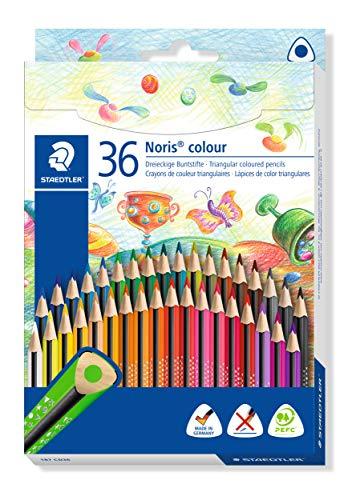 STAEDTLER 187 CD36 Noris Colour Buntstift, erhöhte Bruchfestigkeit, Dreikantform, attraktives Design, ergonomische Soft-Oberfläche, Wopex Material, Set mit 36 brillanten Farben im Kartonetui
