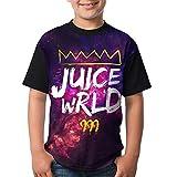 Youth Cotton Round Neck Short Sleeve Printed Juice Wrld King 999 Logo T Shirt Top Tee for Boys Girls Black