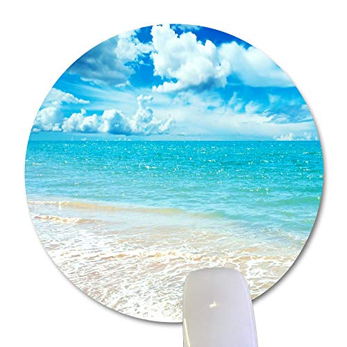 Wknoon Sunny Day Beach Scene Round Mouse Pad Custom, Awesome Coast Landscape Blue Sky White Clouds Circular Mouse Pads for Computers Laptop
