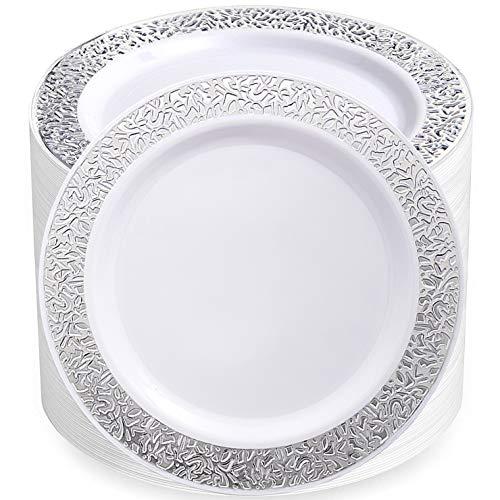 80pcs Disposable Plastic Plates,Silver Plastic Plates,9 inch dinner plates, salad plates, plastic plates heavy duty, Silver Lace Plates, Plastic Plates for Party, Supernal