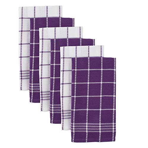 DII Waffle Weave Kitchen Collection 100% Cotton, Machine Washable, Fast Drying and Absorbent, Dishtowel Set, Eggplant 6 Count