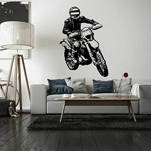 N / A Fahrrad Wandtattoo Fahrt Motorrad Sport Vinyl Fenster Aufkleber Teen Schlafzimmer Spielzimmer Menschen Höhle Home Decor Art Wallpaper weiß 42x30 cm