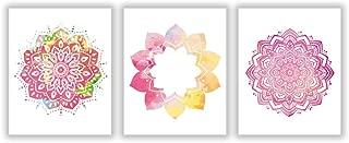 HLNIUC Mandala Yoga Art Poster, Art Pictures Lotus Flower, Print Watercolor Poster Yoga Studio Wall Art Home Decor (3pcs,8x10) No Frame