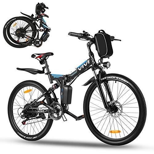 Vivi Ebike Mountainbike 26 Zoll E Bike Damen Herren,350W Elektrofahrrad klapprad mit Abnehmbare 36V 8Ah Lithium-Ionen Batterie,Shimano 21-Gang,Electric Bike 32km/h (Schwarz Blau)